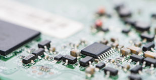 PCB macro shot. With a lot of electrical components Stock Photography