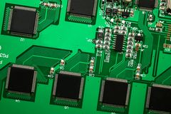 PCB with many chips Royalty Free Stock Image