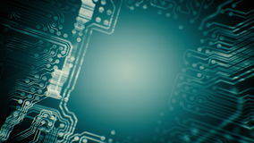 PCB Printed Circuit Board tunnel animated. Technology. Blue cyan. Loopable. stock video