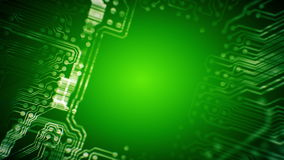 PCB Printed Circuit Board tunnel animated. Technology. Green. Loopable. stock video