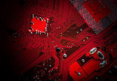 PCB. Red PCB computers electronics background Stock Photos