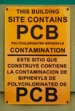 PCB Sign. Polychlorinated Biphenyles PCB sign on a door, Mare Island Navel Shipyard in Vallejo California Stock Image