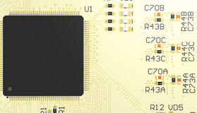 PCB yellow with chip Royalty Free Stock Photo