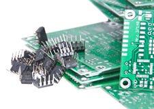 PCBs con diversos componentes electrónicos Foto de archivo