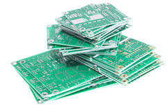 PCBs on white background Stock Photos