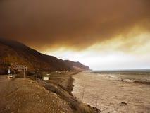 Brush Fire along PCH-1, Ventura, CA Royalty Free Stock Photo