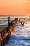 Pêche au surfcasting sur les banques externes de la Caroline du Nord Photographie stock libre de droits