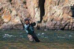 Pêche de mouche en Mongolie - poisson de grayling Photographie stock libre de droits
