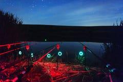 Pêche de nuit Photos libres de droits