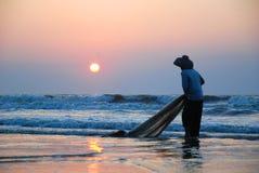 Pêche le matin Photographie stock libre de droits