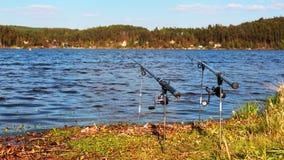 Pêche sur un lac Photographie stock libre de droits