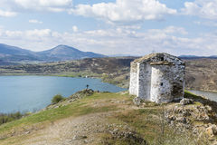 Pchelina lake in Bulgaria and the old chapel St.John Royalty Free Stock Photos