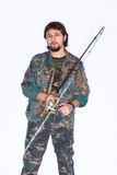 Pêcheur barbu sérieux tenant un angle Images libres de droits