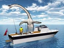 Pêcheur à la ligne de mer et monstre de mer Photographie stock libre de droits