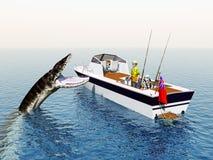 Pêcheur à la ligne de mer et monstre de mer Image stock