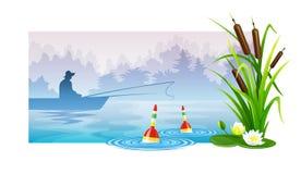 Pêcheur à la pêche dans le bateau Images stock