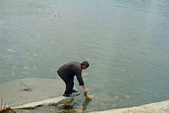 Pêcheur, Nord-Corée Images libres de droits