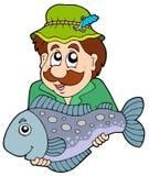 Pêcheur retenant de grands poissons Photo stock