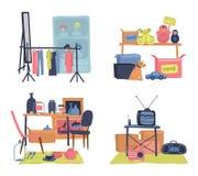 Pchli targ sprzedaż marketingowy kolorowy modniś odzieżowy, akcesoria, drugi ręki materiał i meblarskiego sklepu wektoru mieszkan royalty ilustracja