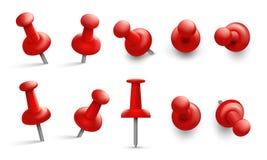 Pchnięcie szpilka w różnych kątach Czerwony thumbtack dla doczepiania Pushpins z metal czerwienią i igłą przewodzą odosobnionego  royalty ilustracja