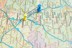 Pchnięcie szpilki na mapie Zdjęcie Royalty Free