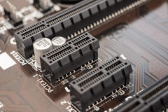 PCI在主板的连接器槽孔 免版税库存图片