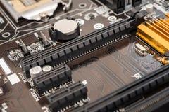 PCI在主板的连接器槽孔 免版税库存照片