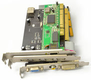 PCI and AGP cards for PC from front Royalty Free Stock Photos