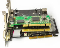 PCI and AGP cards for PC from the side Stock Photos