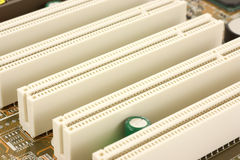 PCI Bus slots on computer motherboard Royalty Free Stock Photo