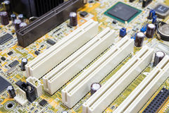 PCI connector slot in motherboard Stock Photography