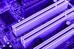 PCI connector slot in motherboard PC toned macro Stock Photography