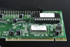 PCI slot. Of a SCSI Card - black background Stock Photography