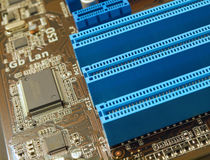PCI slots closeup. PCI slots on computer motherboard closeup Stock Images