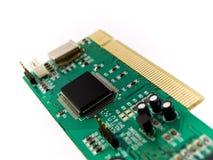 PCI verde da placa de circuito no fundo branco fotos de stock royalty free