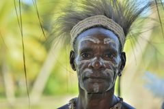 PClose up portrait of a man from the tribe of Asmat. Stock Images