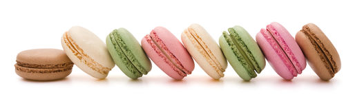 8 pcs colorful macaroons line up with clipping path Stock Images