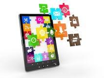 PCsoftware van de tablet. Het scherm van raadsel met pictogrammen. Stock Afbeelding