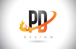 PD P D Letter Logo with Fire Flames Design and Orange Swoosh. PD P D Letter Logo Design with Fire Flames and Orange Swoosh Vector Illustration Stock Image