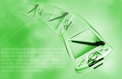 Pda. Picture of a Pda on green abstract background royalty free stock photography