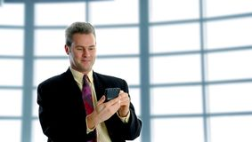 On the PDA. Smiling businessman on the pda for business royalty free stock image