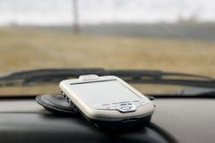 PDA auf der Plattform eines Autos Stockbild