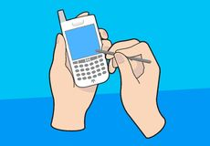 PDA cellphone with hands. Vector illustration of a handheld mobile PDA device with hands Royalty Free Stock Image
