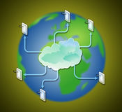 PDA computer network of communication technology on earth Stock Image