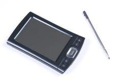 PDA d'isolement sur le blanc avec le crayon lecteur photographie stock libre de droits