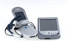 PDA, drahtloses Telefon und Mikrofon. stockbild