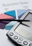 PDA e stats di affari Immagine Stock