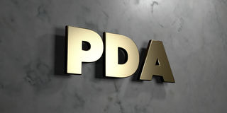 Pda - Gold sign mounted on glossy marble wall  - 3D rendered royalty free stock illustration Royalty Free Stock Images