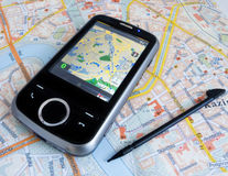 PDA with GPS. Smartphone PDA with GPS capability stock photos