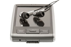 PDA with headphones Royalty Free Stock Photos